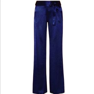 New with Tags Blue Satin Wide Leg Tie Front Pants